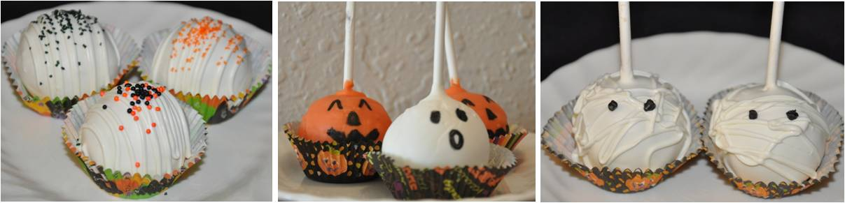 Halloween Cake Balls with ghosts, jack-o-lanterns, and mummies