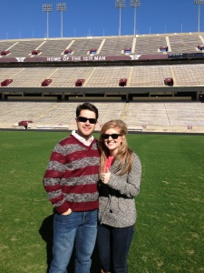 Daniel and Ali right after he proposed in Kyle Field