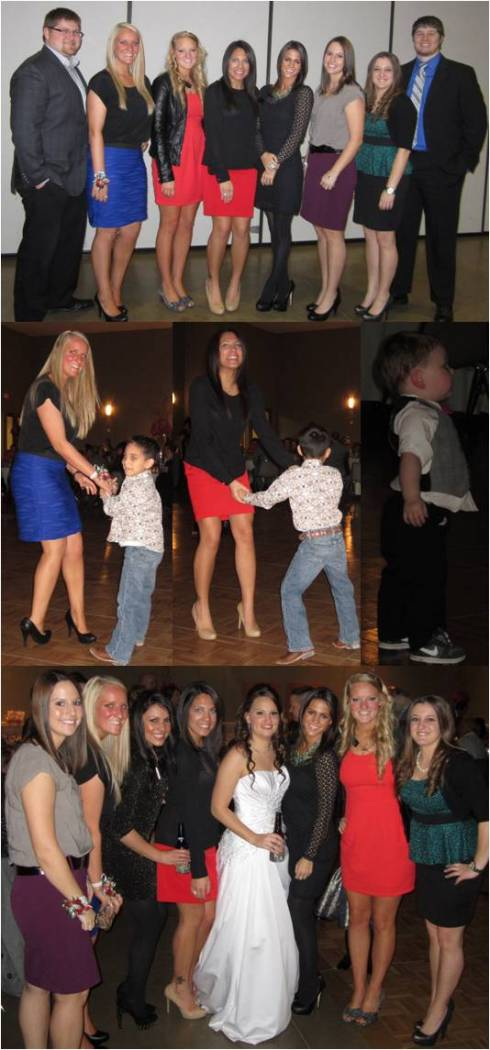 Top: Korey, Neva, Kels, Morgan, Jessica, Morgan, me, and JosephMiddle: (1st two) Neva & Morgan dancing with Morgan's (this Morgan, not the groom) son, (3rd) one of the bridesmaids little boy that danced the WHOLE night - so cute! Bottom: All the Willis girls!