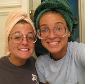 Me and Chelsea as old ladies with glasses we randomly found in a bathroom drawer at a friend's house