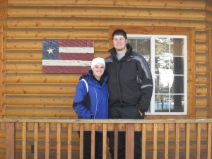 Me and Joseph on the porch of our cabin