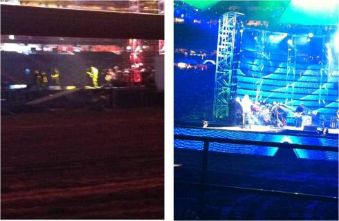 Left: Jake Owen and band warming up before showRight: My view during the performance