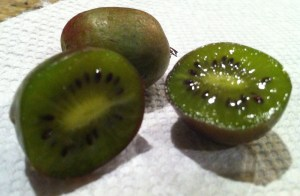 inside of a kiwi berry