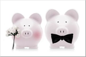 This bride and groom are piggy banks for a reason...it's irony.