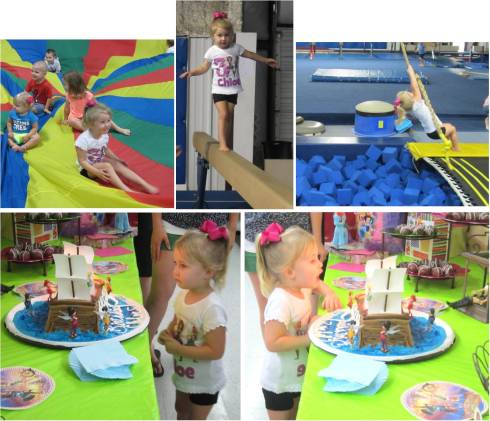 Parachute, balance beam all by herself, rope swing, and lots of Pirate Fairies!