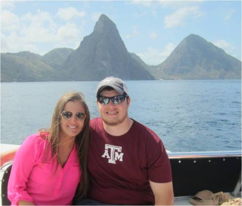 In front of the Pitons (mountains)