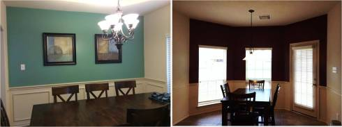 Left: Turquoise-ish Dining Room Right: Red Wine Kitchen