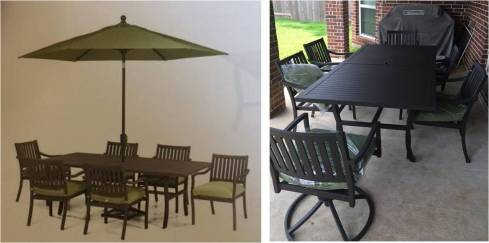 Picture from the ad and the actual furniture on our porch...obviously we didn't buy the umbrella...