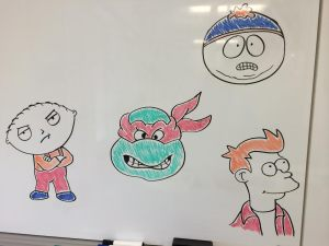 Stewie (Family Guy), Raphael (Ninja Turtles), Fry (Futurama), and Cartman (South Park)