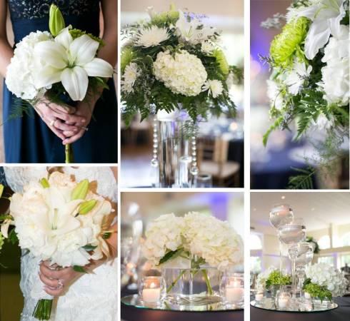Bridesmaids' bouquet, centerpieces, and my bouquet