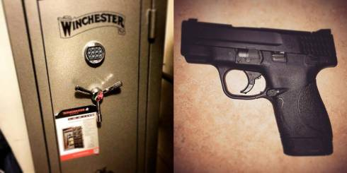 Joseph and my new gifts - he got me a new hand gun and I got him a 24-gun safe