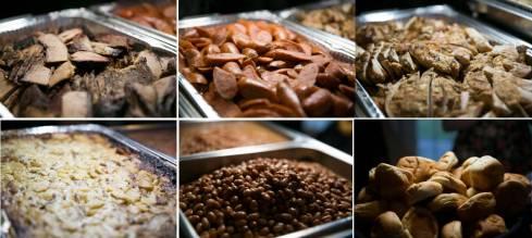 Texans BBQ - brisket, sausage, chicken, baked potato casserole, beans, & rolls