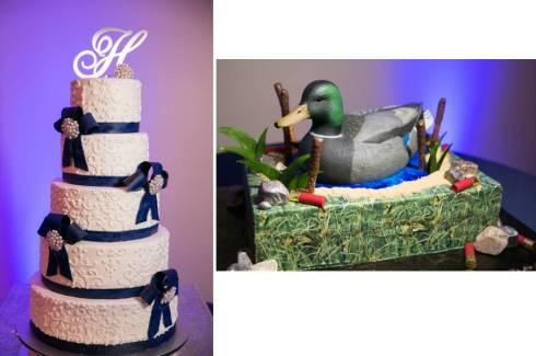 Wedding cake and Duck Groom's cake