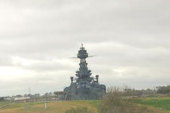 The Battleship by the San Jacinto Monument!  I've never actually been to see it but I had a conference at Monument Inn so I decided to pull over to catch a picture