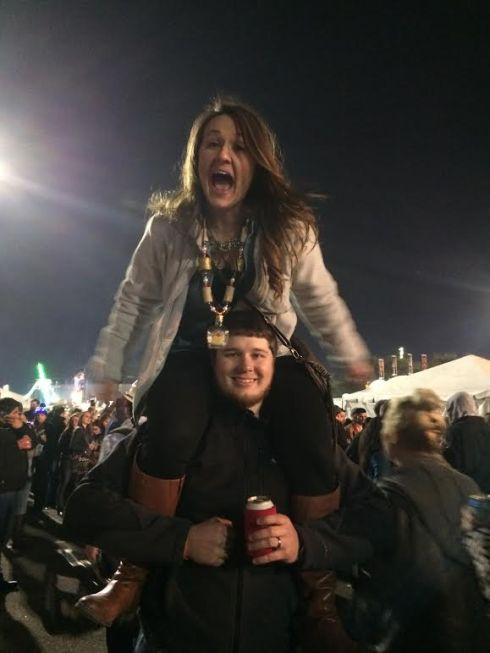 Gina on Joseph's shoulders at the cook-off while we watched Aaron Watson perform