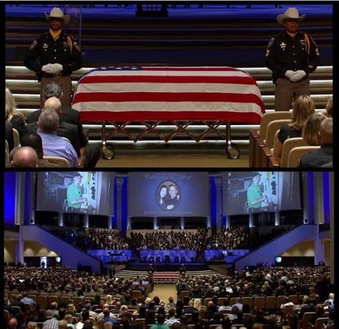 Picture courtesy of my cousin, Lauryn, from watching the service on TV today